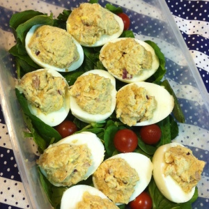 Tuna Stuffed Hard Boiled Eggs